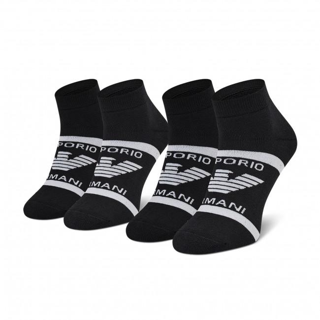Súprava 2 párov vysokých ponožiek pánskych EMPORIO ARMANI - 306208 1P300 00020 Nero