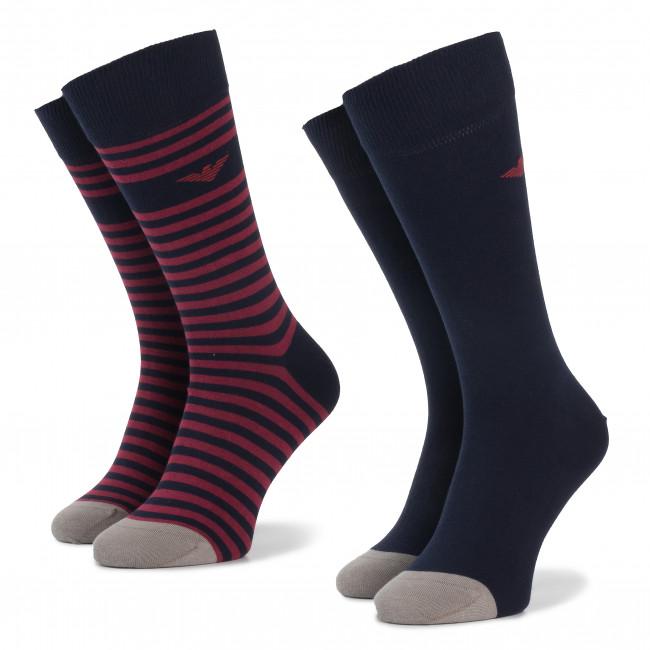 Súprava 2 párov vysokých ponožiek pánskych EMPORIO ARMANI - 302302 9A293 14335 r. 39-46 Blu/Rosso