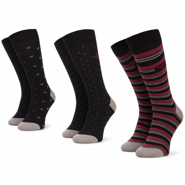 Súprava 3 párov vysokých ponožiek pánskych EMPORIO ARMANI - 302402 9A282 05720 r.39/46 Nero/Rosso