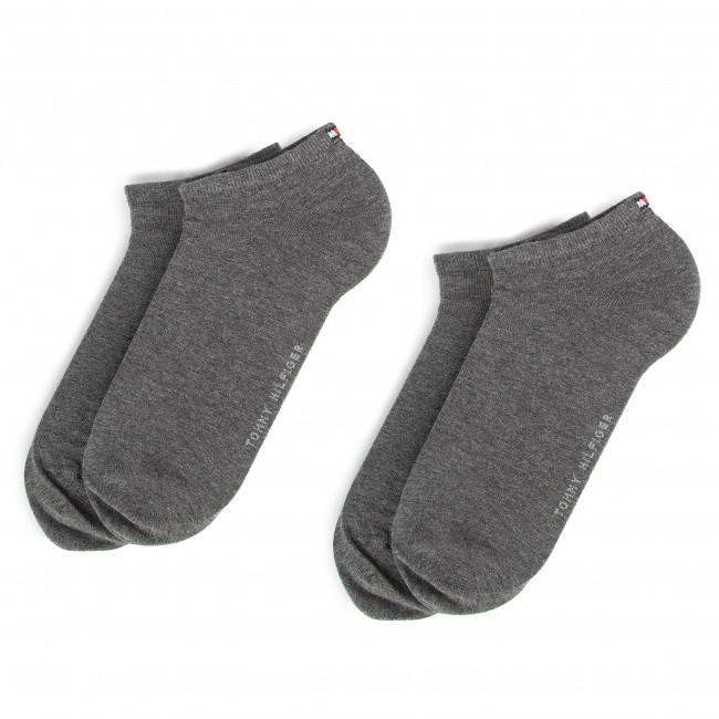 Súprava 2 párov kotníkových ponožiek pánských TOMMY HILFIGER - 343024001 Middle Grey 758