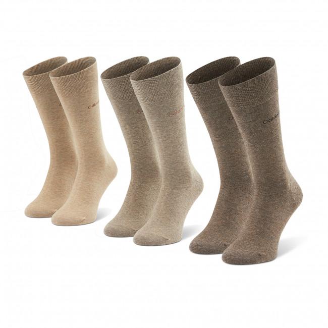 Súprava 3 párov vysokých ponožiek pánskych CALVIN KLEIN - 100001752 Taupe 003
