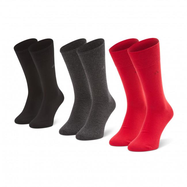 Súprava 3 párov vysokých ponožiek pánskych CALVIN KLEIN - 100001752 r.OS Red Combo 011