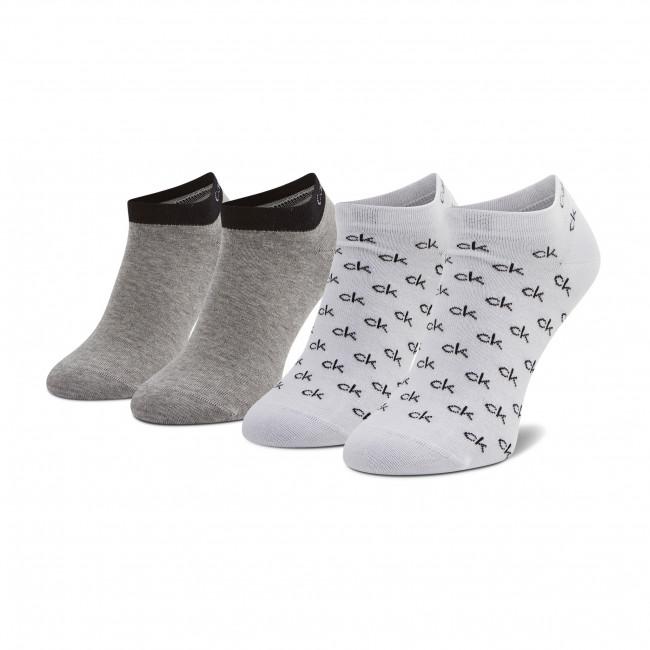 Súprava 2 párov kotníkových ponožiek pánských CALVIN KLEIN - 100001762  White Combo 004