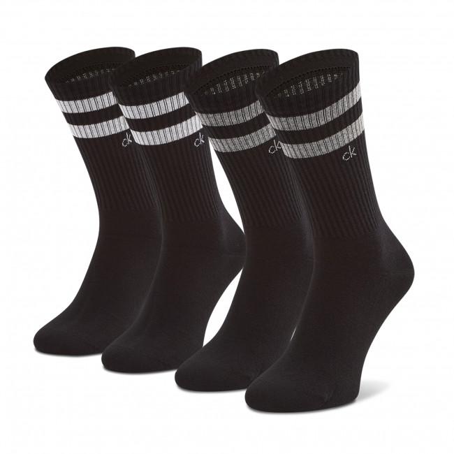 Súprava 2 párov vysokých ponožiek pánskych CALVIN KLEIN - 100001763  Black Combo 001