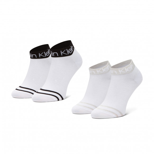 Súprava 2 párov kotníkových ponožiek dámskych CALVIN KLEIN - 100001800 White 002