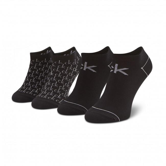 Súprava 2 párov kotníkových ponožiek dámskych CALVIN KLEIN - 100001812  Black 001