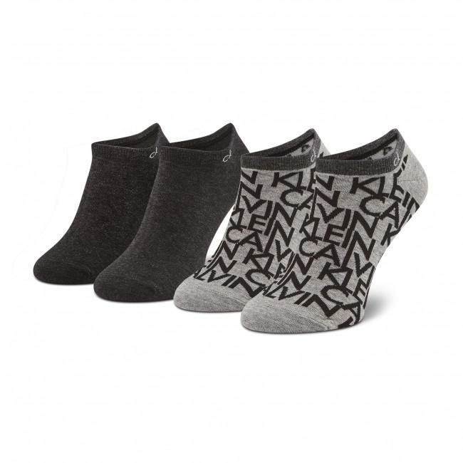 Súprava 2 párov kotníkových ponožiek pánských CALVIN KLEIN - 100001845  Grey Melange 004