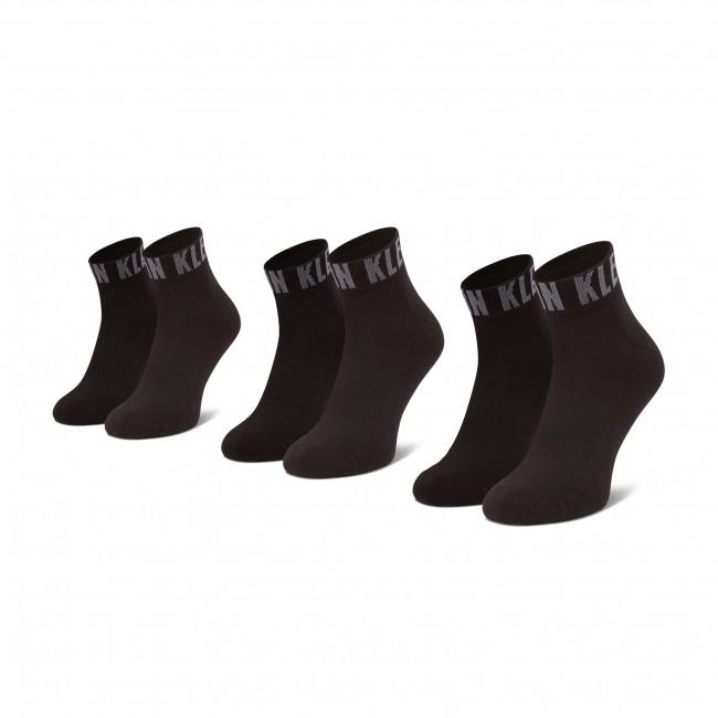 Súprava 3 párov vysokých ponožiek unisex CALVIN KLEIN - 100001880  Black 001