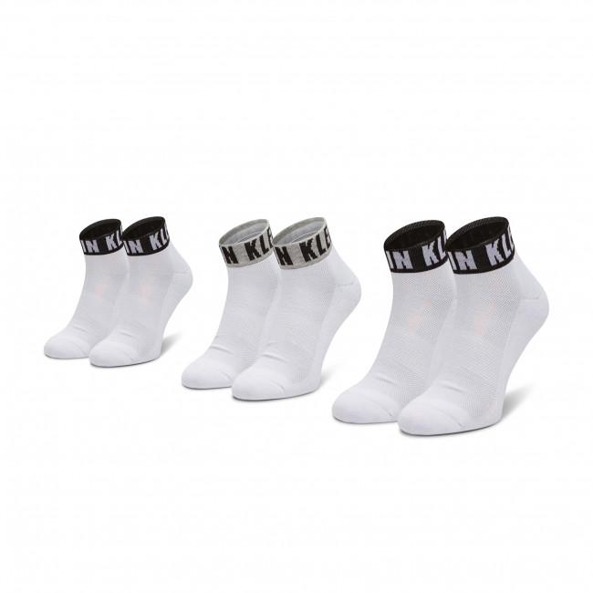 Súprava 3 párov vysokých ponožiek unisex CALVIN KLEIN - 100001880 White Combo 002