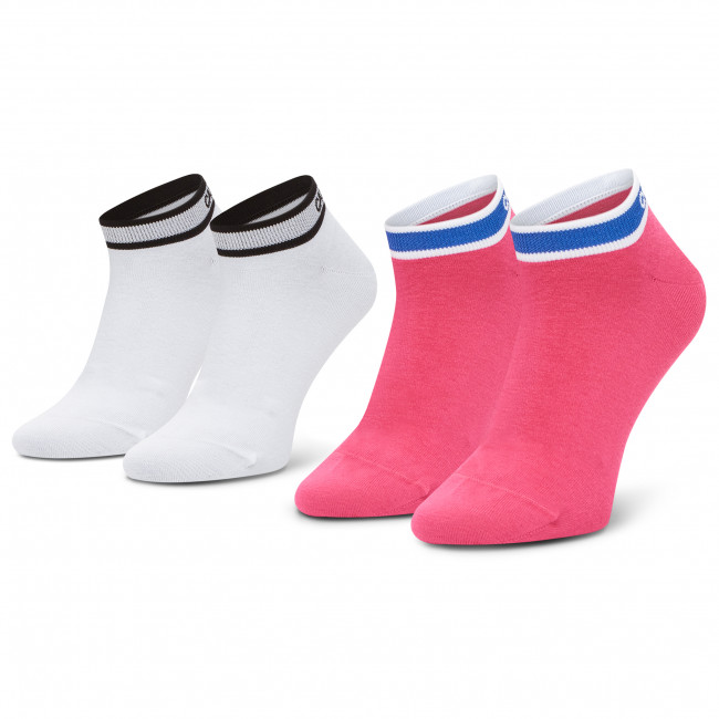 Súprava 2 párov kotníkových ponožiek dámskych CALVIN KLEIN - 100001900 Pink Combo 003