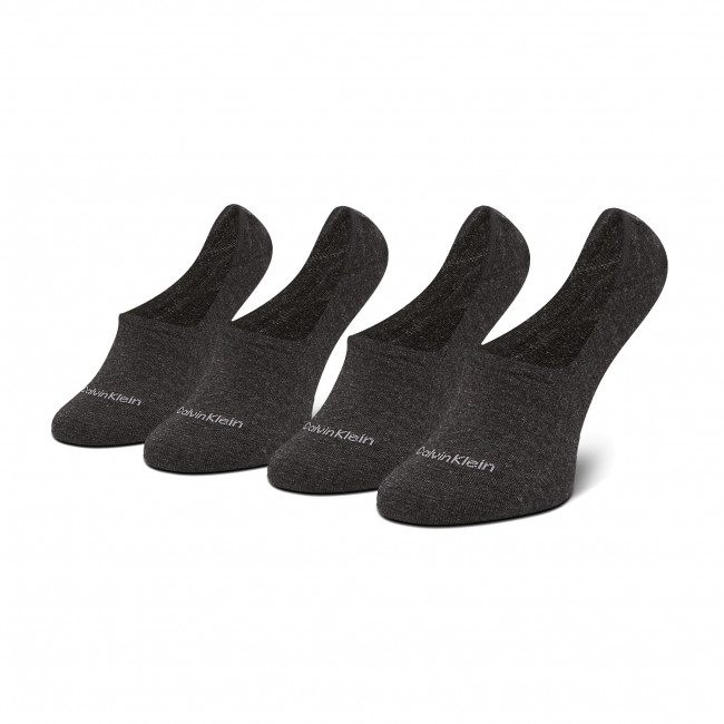Súprava 2 párov krátkych ponožiek dámskych CALVIN KLEIN - 100001902 Dark Grey Melange 003