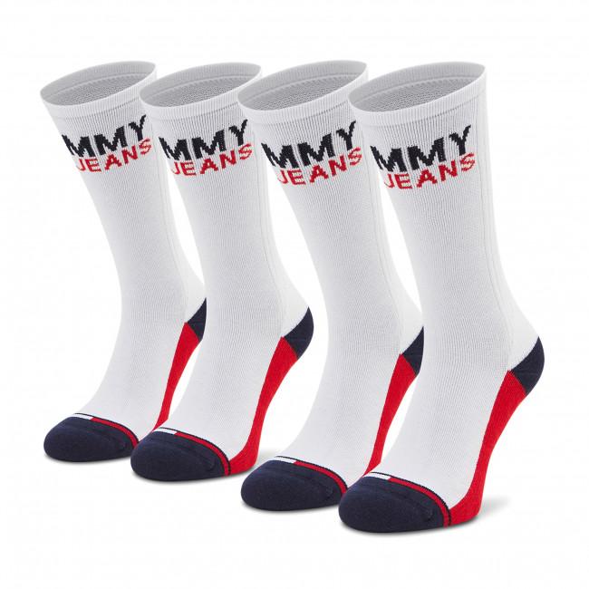 Súprava 2 párov vysokých ponožiek pánskych TOMMY JEANS - 100000400  White 001