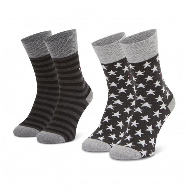 Súprava 2 párov vysokých ponožiek dámskych TOMMY HILFIGER - 100000816 Black 200