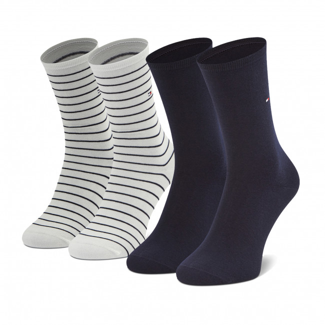 Súprava 2 párov vysokých ponožiek dámskych TOMMY HILFIGER - 100001494 Off White 002