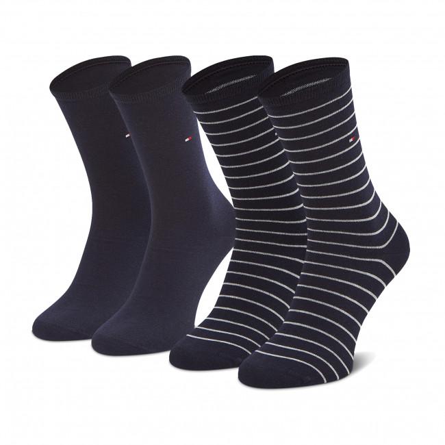Súprava 2 párov vysokých ponožiek dámskych TOMMY HILFIGER - 100001494 Midnight Blue 003