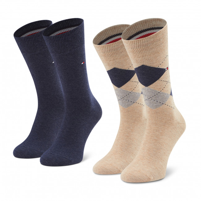 Súprava 2 párov vysokých ponožiek pánskych TOMMY HILFIGER - 100001495 Beige Melange 050