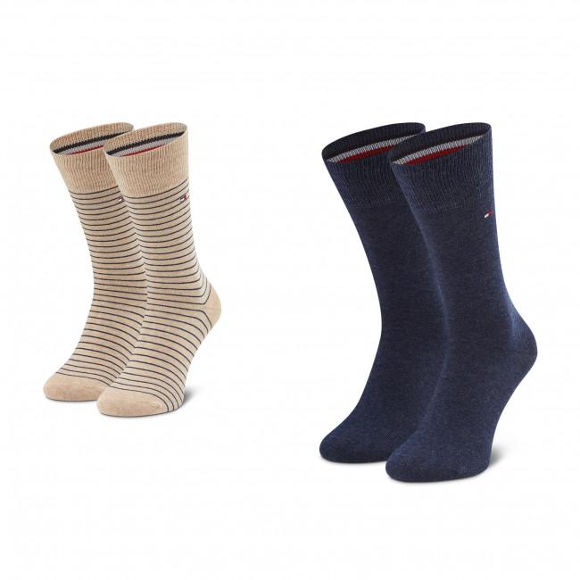 Súprava 2 párov vysokých ponožiek pánskych TOMMY HILFIGER - 100001496 Beige Melange 050