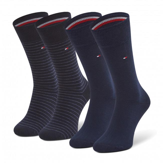 Súprava 2 párov vysokých ponožiek pánskych TOMMY HILFIGER - 100001496 Dark Navy 322