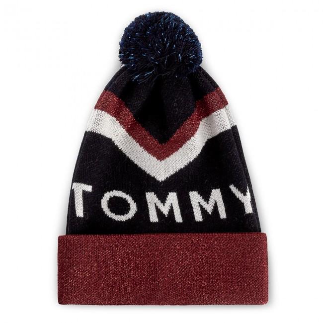 8dd9a7b09 Čiapka dámska TOMMY HILFIGER - DENIM Tommy Chevron Pom Pom Beanie  AW0AW04275 413