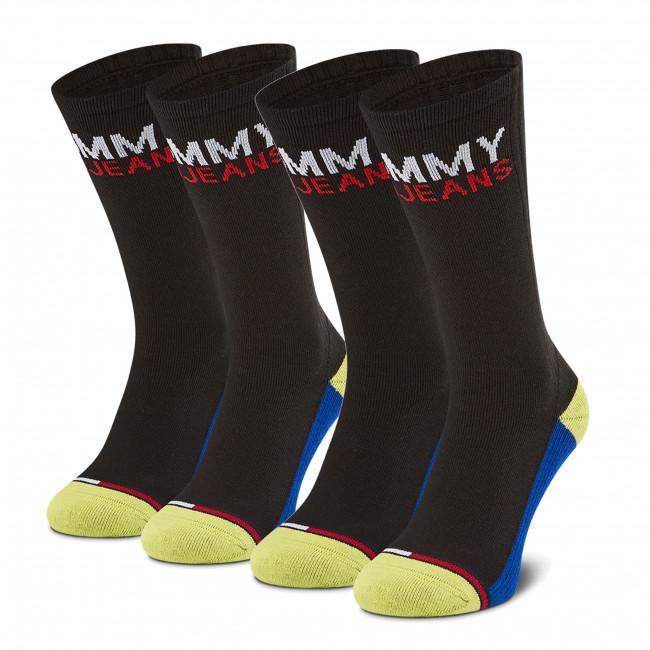 Súprava 2 párov vysokých ponožiek unisex TOMMY JEANS - 100000400 Black/Yellow 010