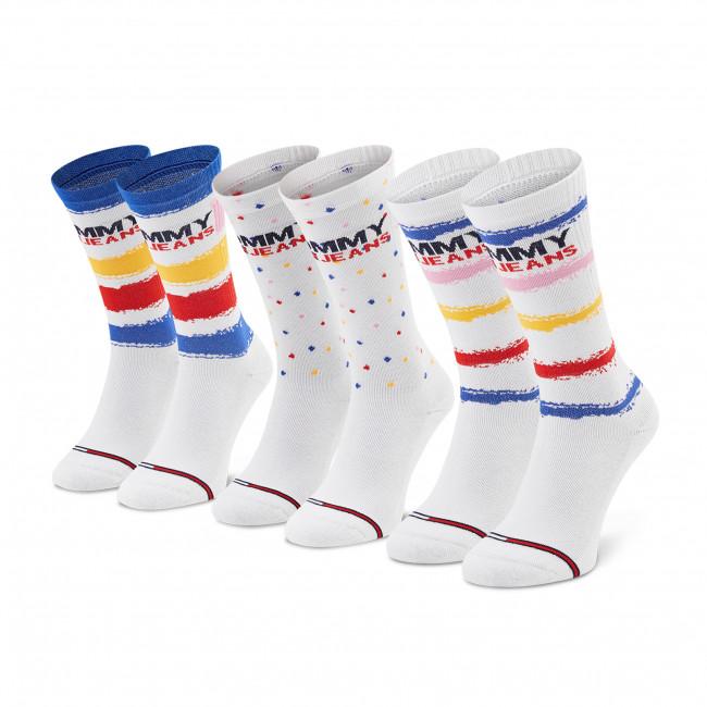 Súprava 3 párov vysokých ponožiek dámských TOMMY JEANS - 100002405 White 001