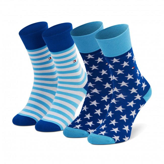 Súprava 2 párov vysokých ponožiek detských TOMMY HILFIGER - 100000816 Blue Combo 100