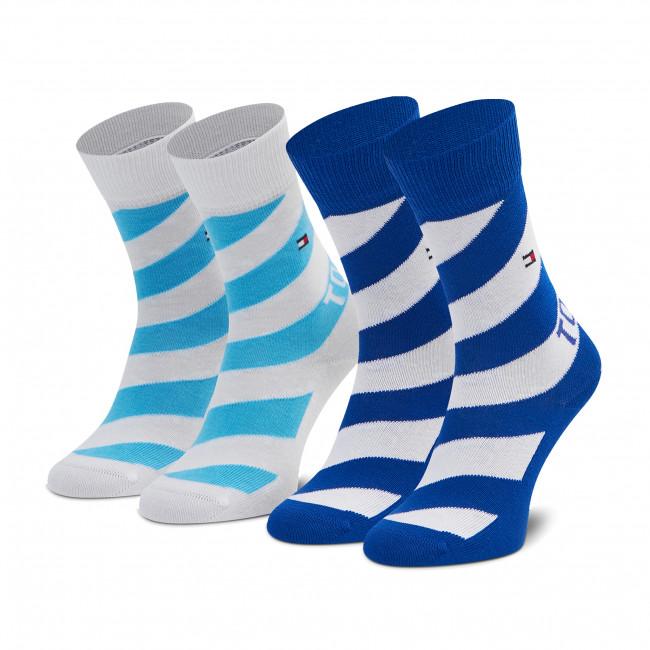 Súprava 2 párov vysokých ponožiek detských TOMMY HILFIGER - 100002307 Blue Combo 002