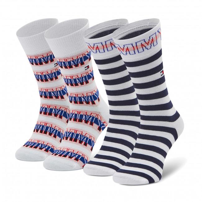 Súprava 2 párov vysokých ponožiek detských TOMMY HILFIGER - 100002311 Tommy Original 001
