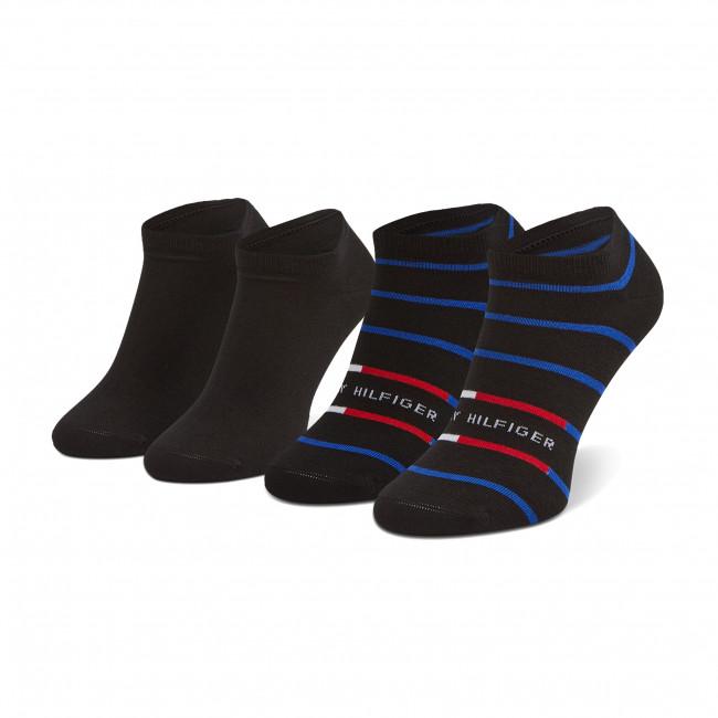 Súprava 2 párov kotníkových ponožiek pánských TOMMY HILFIGER - 100002211 Black 002