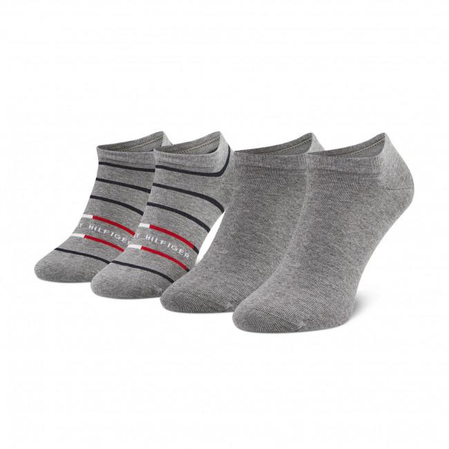 Súprava 2 párov kotníkových ponožiek pánských TOMMY HILFIGER - 100002211  Mid Grey Melange 004