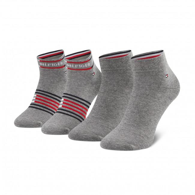 Súprava 2 párov vysokých ponožiek pánskych TOMMY HILFIGER - 100002212  Mid Grey Melange 004