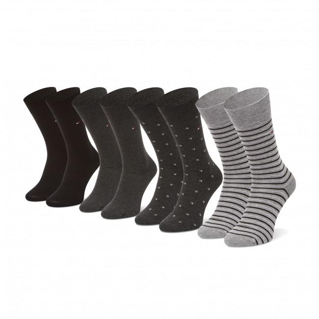 Súprava 4 párov vysokých  ponožiek pánskych TOMMY HILFIGER - 100002214  Black 002