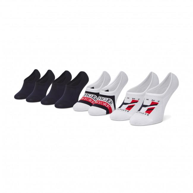 Set 4 párov dámskych členkových ponožiek  TOMMY HILFIGER - 100002215 White/Navy