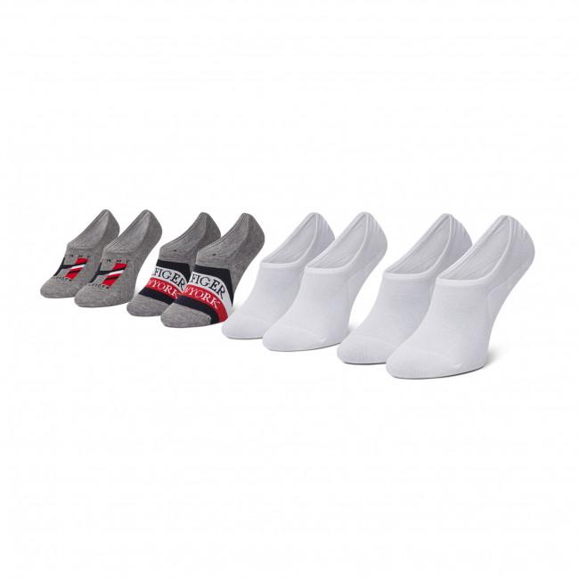 Súprava 4 párov kotníkových ponožiek panských TOMMY HILFIGER - 100002215 Grey Melange/White 002