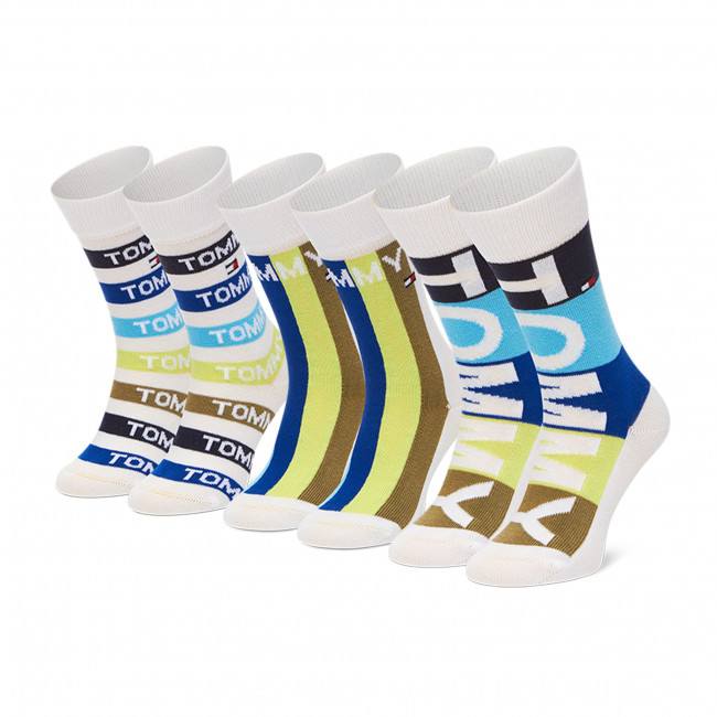 Súprava 3 párov vysokých ponožiek detských TOMMY HILFIGER - 100002315 Blue Combo 002