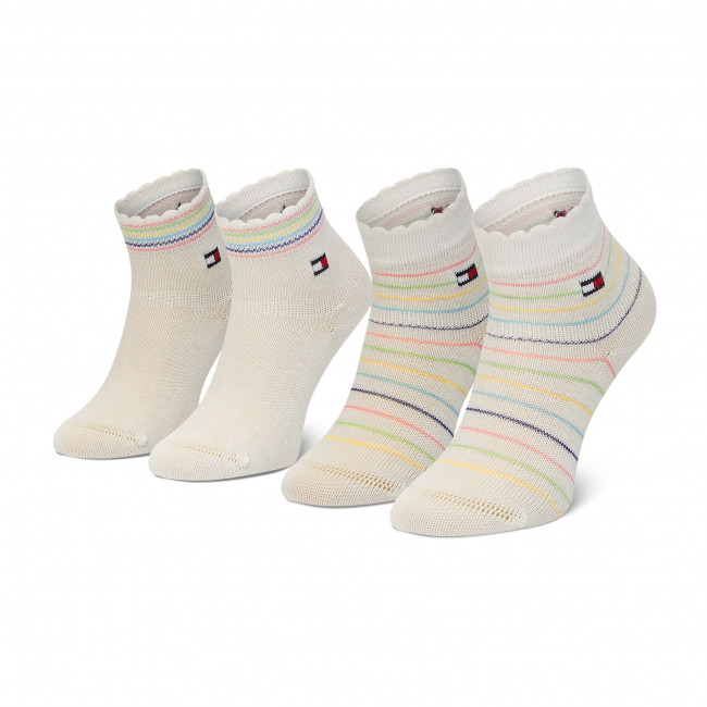 Súprava 2 párov vysokých ponožiek detských TOMMY HILFIGER - 100002322  White 002