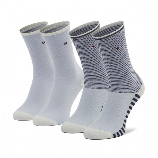 Súprava 2 párov vysokých ponožiek dámskych TOMMY HILFIGER - 100002391 White 100