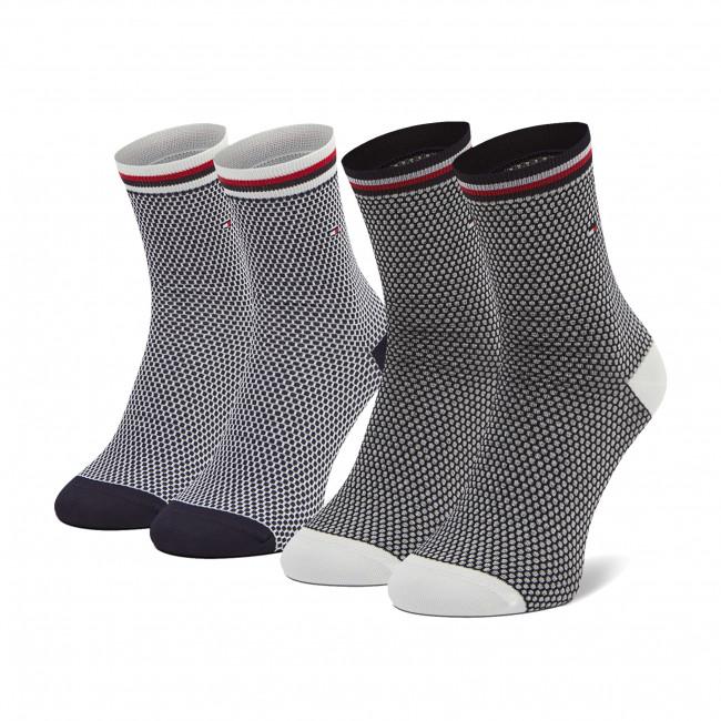 Súprava 2 párov vysokých ponožiek dámskych TOMMY HILFIGER - 100002396 Navy 003