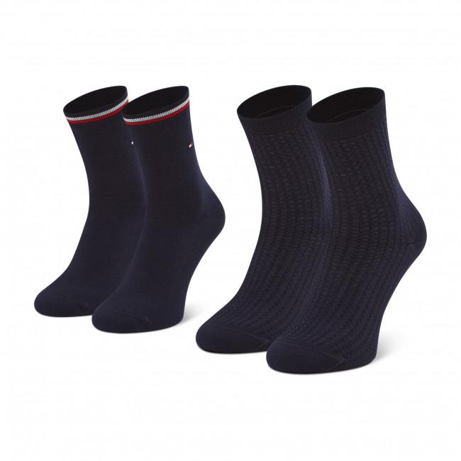 Súprava 2 párov vysokých ponožiek dámskych TOMMY HILFIGER - 100002398 Navy 003