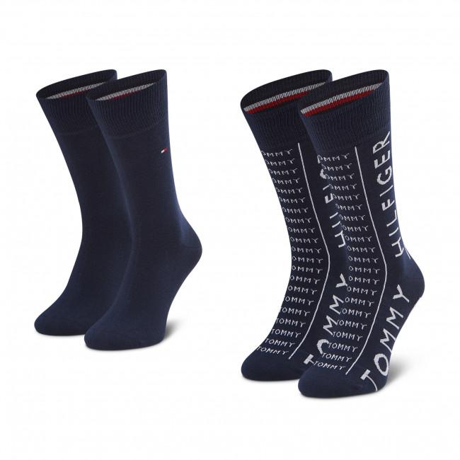 Súprava 2 párov vysokých ponožiek pánskych TOMMY HILFIGER - 100002676 Navy 003