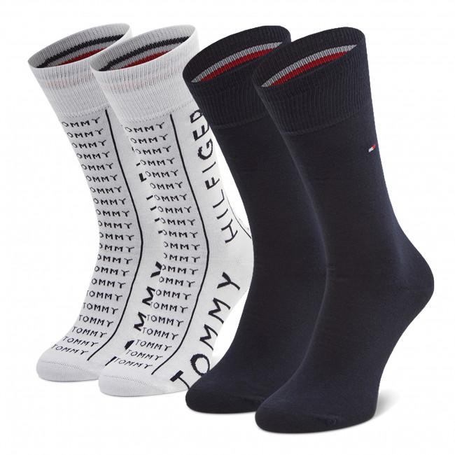 Súprava 2 párov vysokých ponožiek pánskych TOMMY HILFIGER - 100002676 White 005