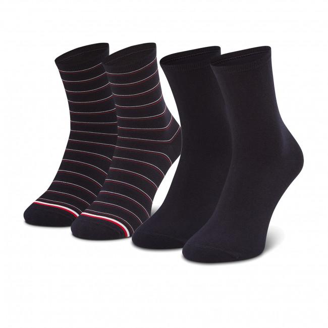 Súprava 2 párov vysokých ponožiek dámskych TOMMY HILFIGER - 100002817 Navy 002