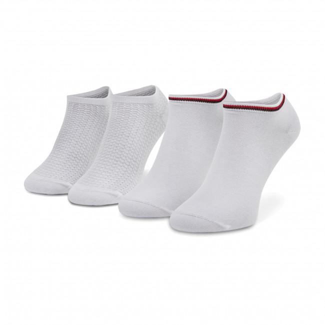 Súprava 2 párov kotníkových ponožiek dámskych TOMMY HILFIGER - 100002826  White 001