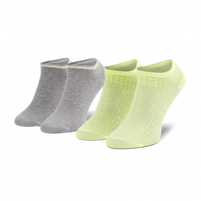 Súprava 2 párov kotníkových ponožiek dámskych TOMMY HILFIGER - 100002826 Grey Yellow 002