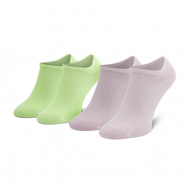 Súprava 2 párov kotníkových ponožiek unisex TOMMY HILFIGER - 301390 Green/Pink 101