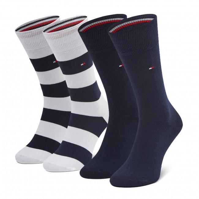 Súprava 2 párov vysokých ponožiek pánskych TOMMY HILFIGER - 342021001 White Combo 101