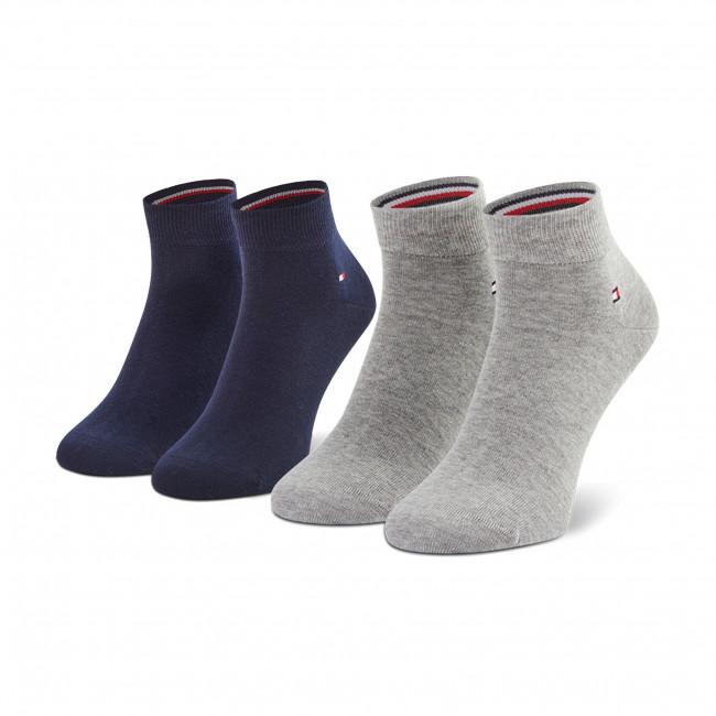 Súprava 2 párov vysokých ponožiek pánskych TOMMY HILFIGER - 342025001 Light Grey/Melange 100