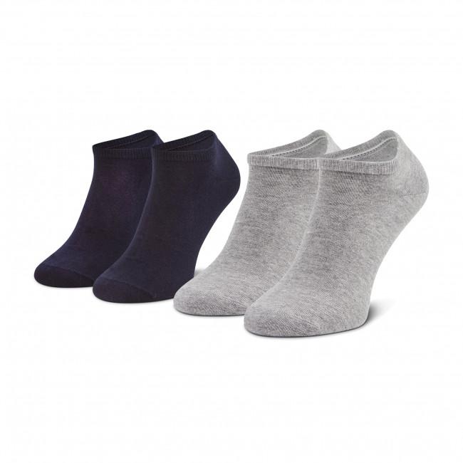 Súprava 2 párov kotníkových ponožiek pánských TOMMY HILFIGER - 342023001  Light Grey Melange 100
