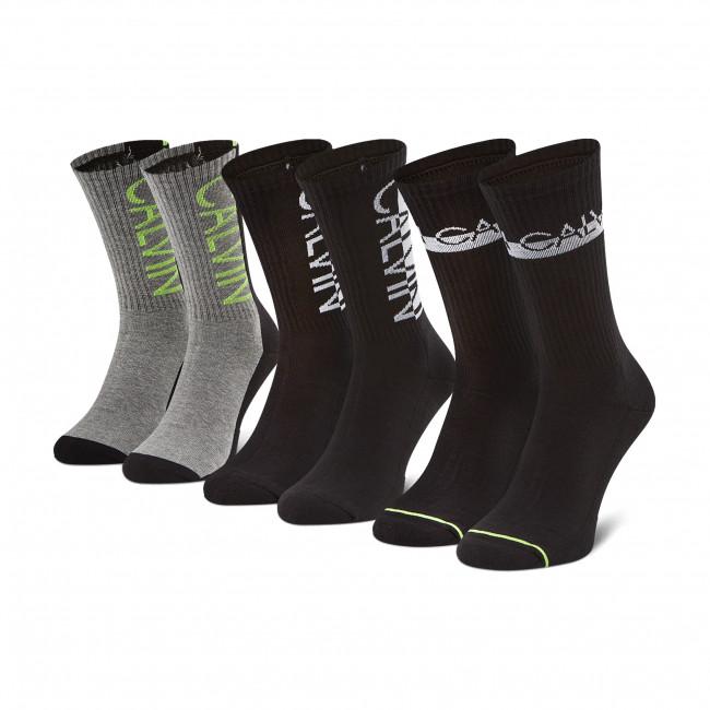Súprava 3 párov vysokých ponožiek pánskych CALVIN KLEIN JEANS - 100002996  Black 001