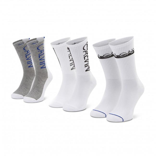 Súprava 3 párov vysokých ponožiek pánskych CALVIN KLEIN JEANS - 100002996 002 White 002